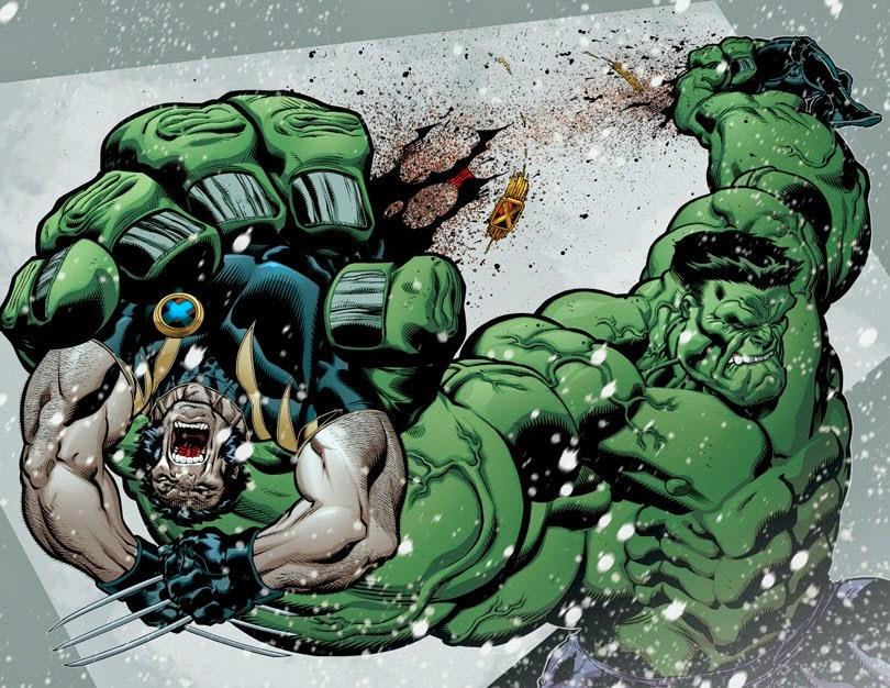 Hulk parte Wolverine em dois