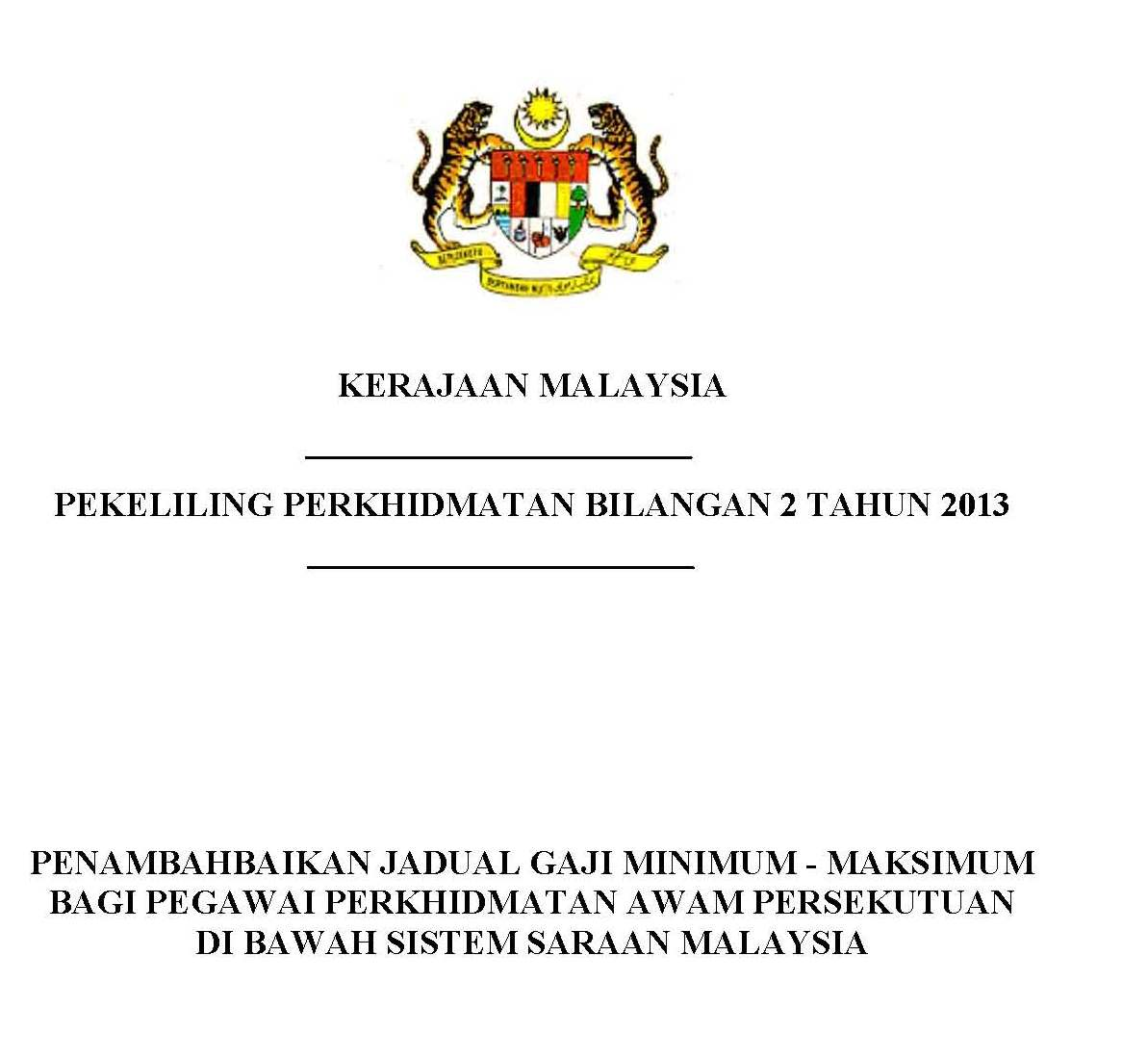 Pekeliling Jadual Gaji Minimum - Maksimum 2013