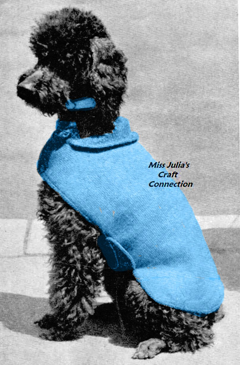 Free Knitted Dog Coat Patterns : Miss Julias Patterns: Free Patterns - 20+ Dog Sweater Coats to Knit &...