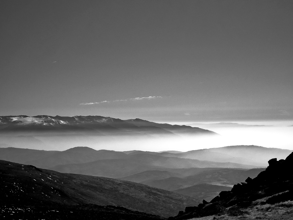 black and wihte moutain landscape