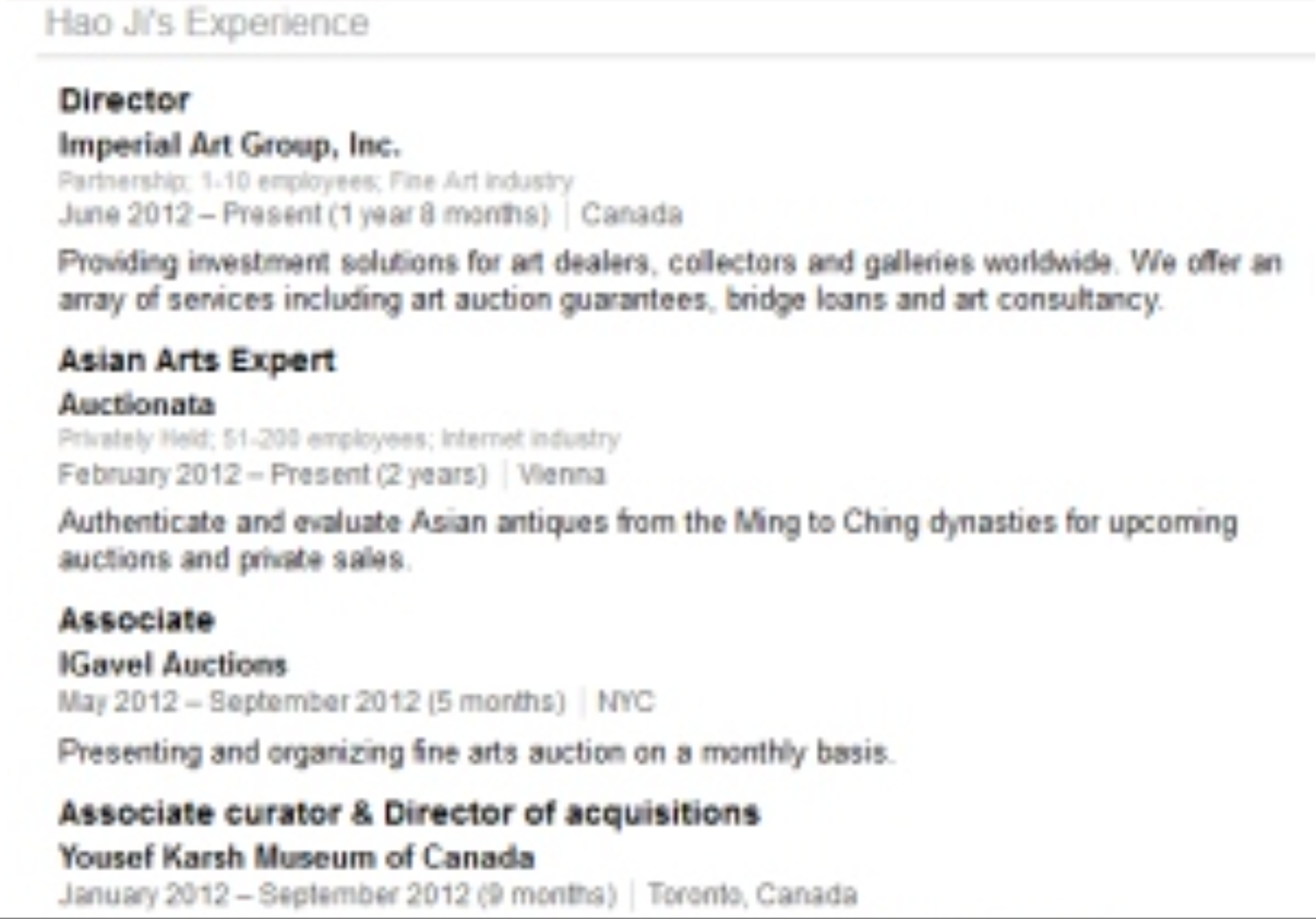 Linkedin resume of Convicted fraudster and former Auctionata employee Hao Ji aka Joseph Hokai Tang