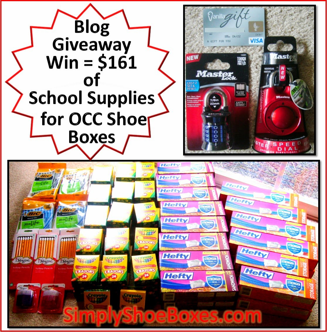 Blog Giveaway Win Provides School Supplies for Operation Christmas Child Boxes