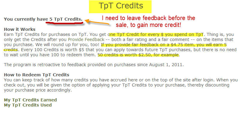 How do TpT credits work?