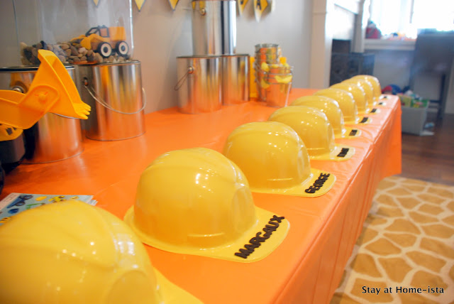 children's hard hats for a construction party
