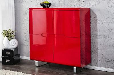 luxusny cerveny nabytok, moderny dizajn v cervenej, cervene komody a skrinky