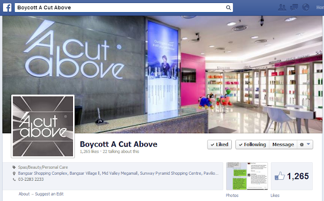 Boycott A Cut Above Facebook Page