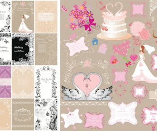 Design your wedding invitations with free download vector graphics
