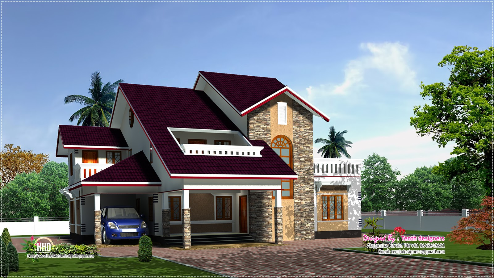 3200 luxury house plan elevation home kerala plans for Luxurious home plans