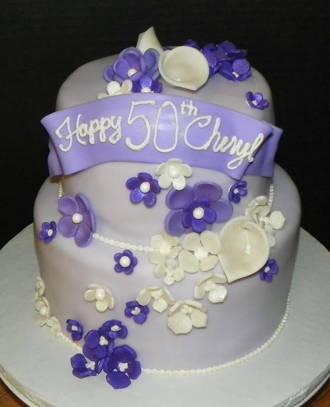 Plumeria Cake Studio: Purple Flowers Birthday Cake