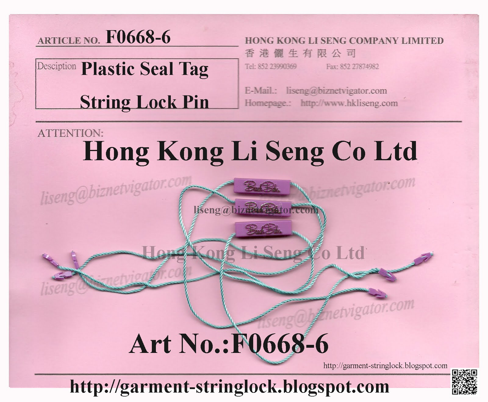 Your Own Plastic Seal Tag Brand Name Trademark String Lock Pin