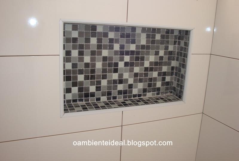 Pin Assentamento De Pastilha Porcelana No Chao Do Banheiro Parte 1 on Pinterest -> Nicho Banheiro Box Medidas
