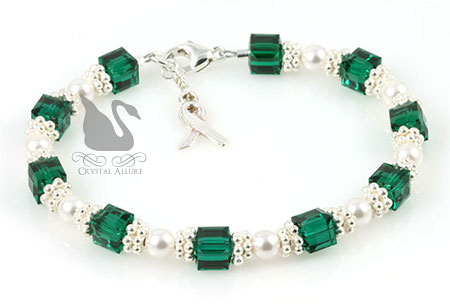 Sterling Green Organ Transplant Awareness Bracelet (B167)