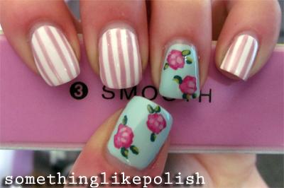 vintage floral flower nail art