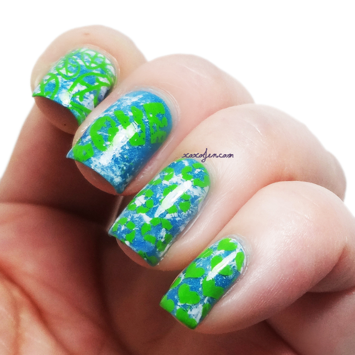 xoxoJen's Earth Day nail stamping art