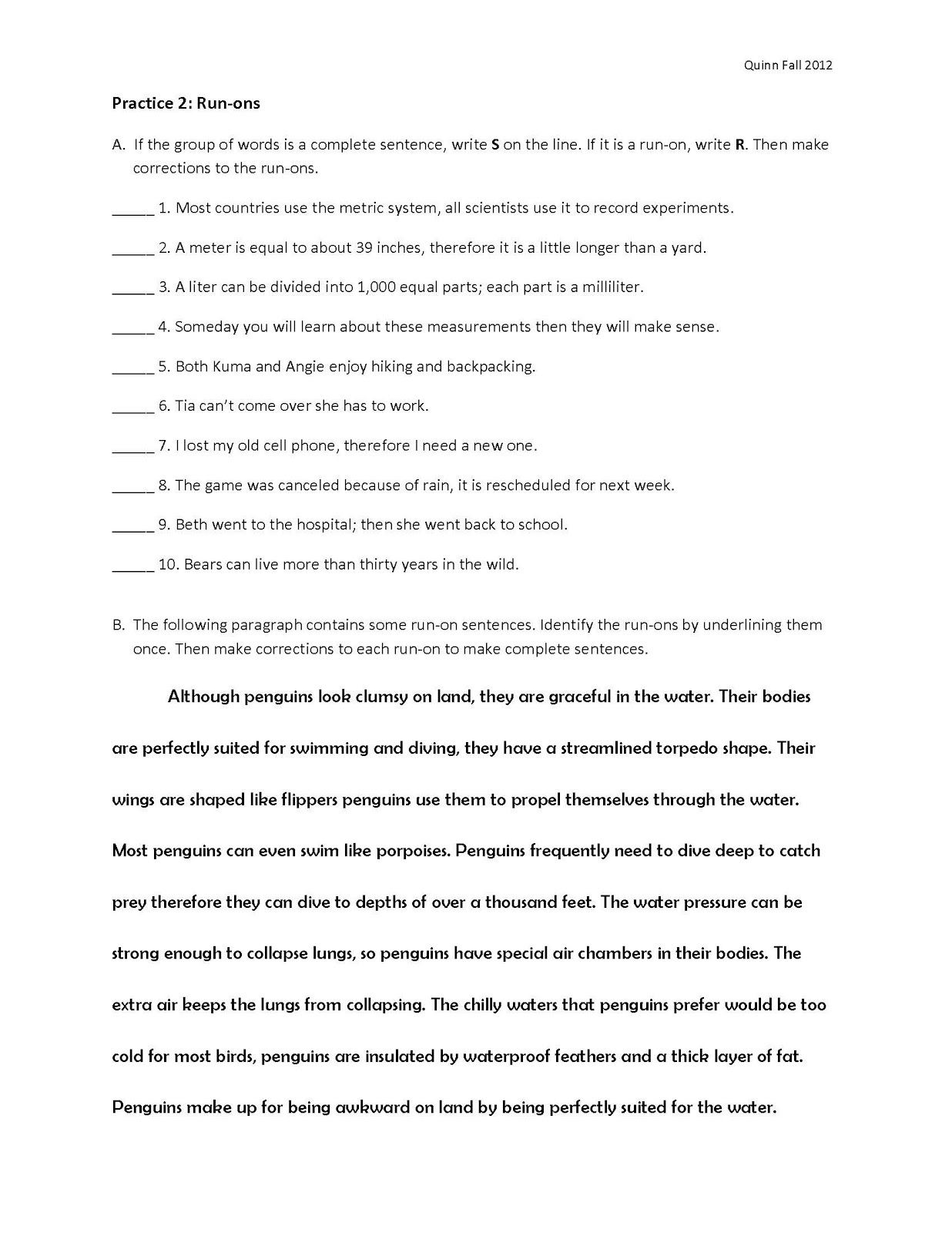 worksheet Fragments And Run-ons Worksheets english and esol lab workshops fragments run ons jessica quinn now try practicing with these worksheets