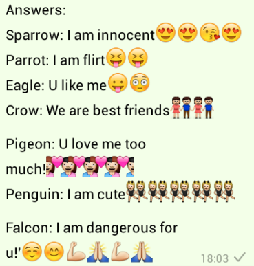 Answers to select a bird for me whatsapp games