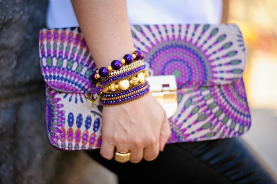 Colorful clutch and bracelets