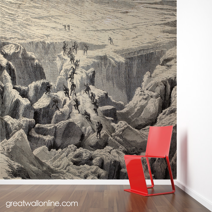 Custom wallpaper inspiration using vintage imagery for for Antique wallpaper mural