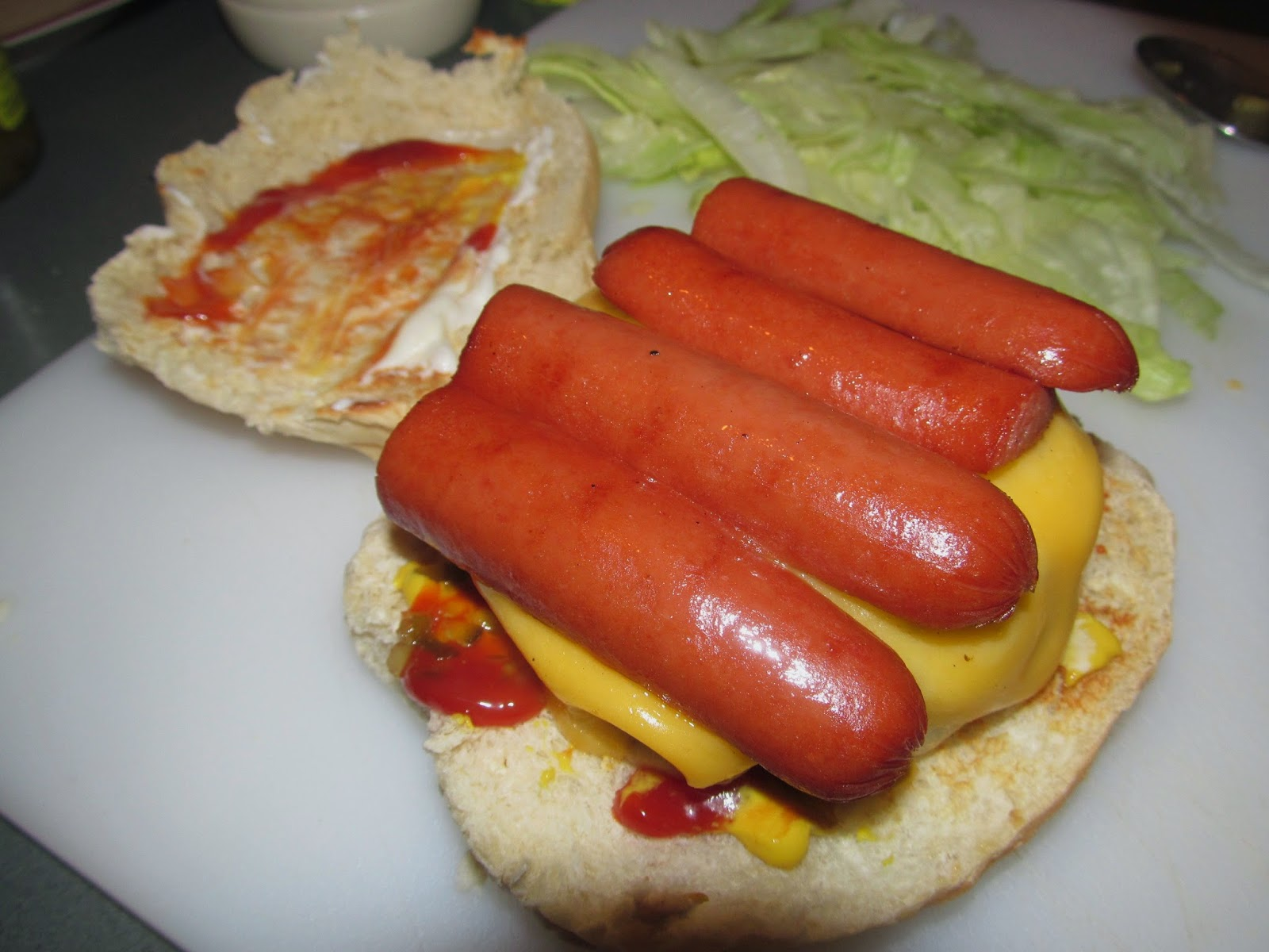 cheeseburger and hotdogs