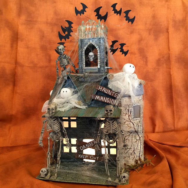 Bats In The Belfry Haunted Mansion for DecoArt Challenge using DecoArt Media products