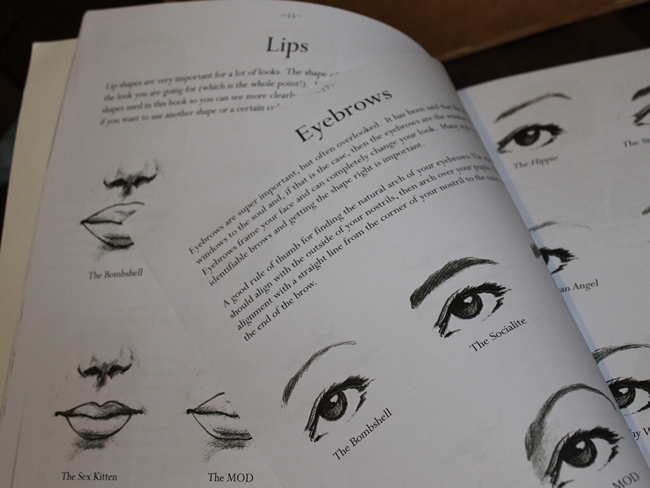 vintage makeup book lips and eyebrows- Decades of Style by Lexi de Rock