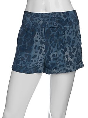 Blue Leopard Silk Shorts