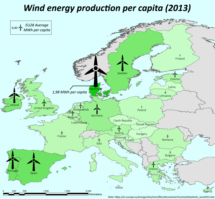 Wind energy production per capita