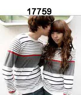 Baju-couple-lengan-panjang-korea-salur-abu