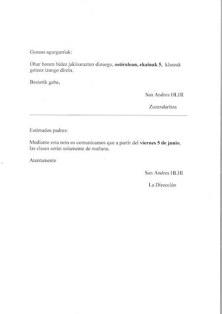 EKAINAREN 5TETIK AURRERA GOIZEKO ORDUTEGIA