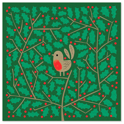 Christmas illustration of robin in holly bush
