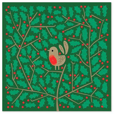 Christmas illustration of robin in holly bush