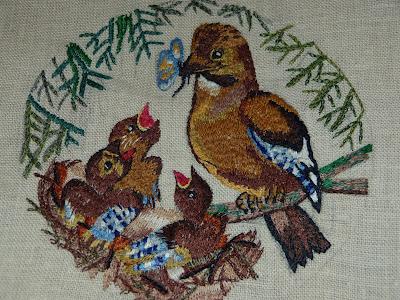 haft płaski, haft malarski, haftowane sójki