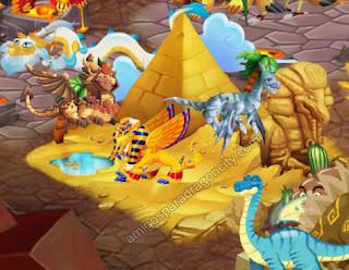 imagen de los dragones de la isla egitcia de dragon city