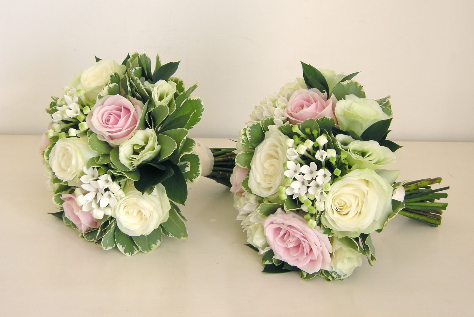 Bridal Bouquets Pink And White : Wedding flowers nikki s classic green white and