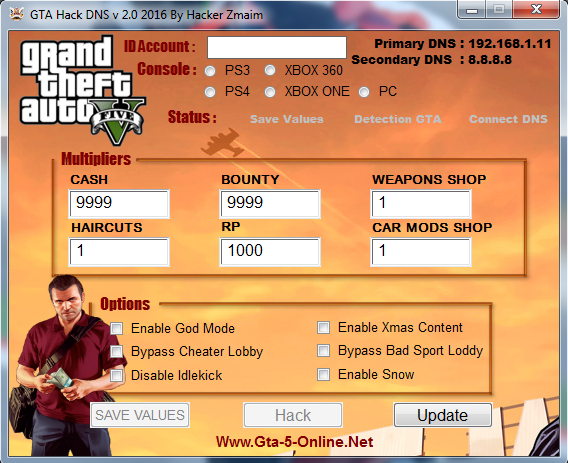 Grand Theft Auto 5 Hack DNS v 2.0 By Hacker Zmaim