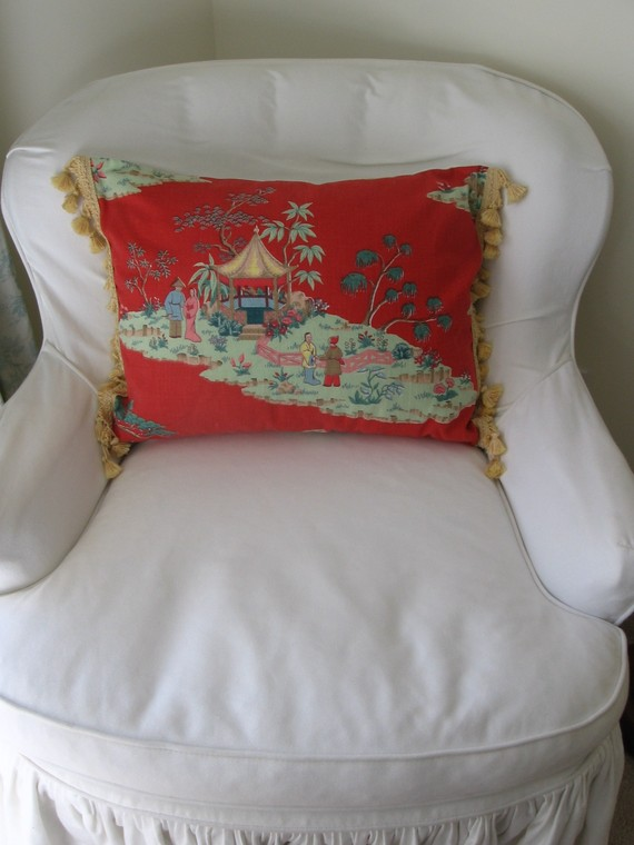 Chinoiserie Chic: High/Low Chinoiserie Barkcloth Pillows on Etsy