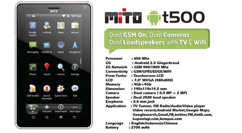 Tablet Mito T500 Prosecor 650 MHZ, Dual Sim plus TV