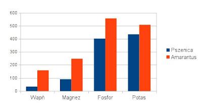 amarantus, pszenica - zawartość mikroelementów: wapń, magnez, fosfor, potas