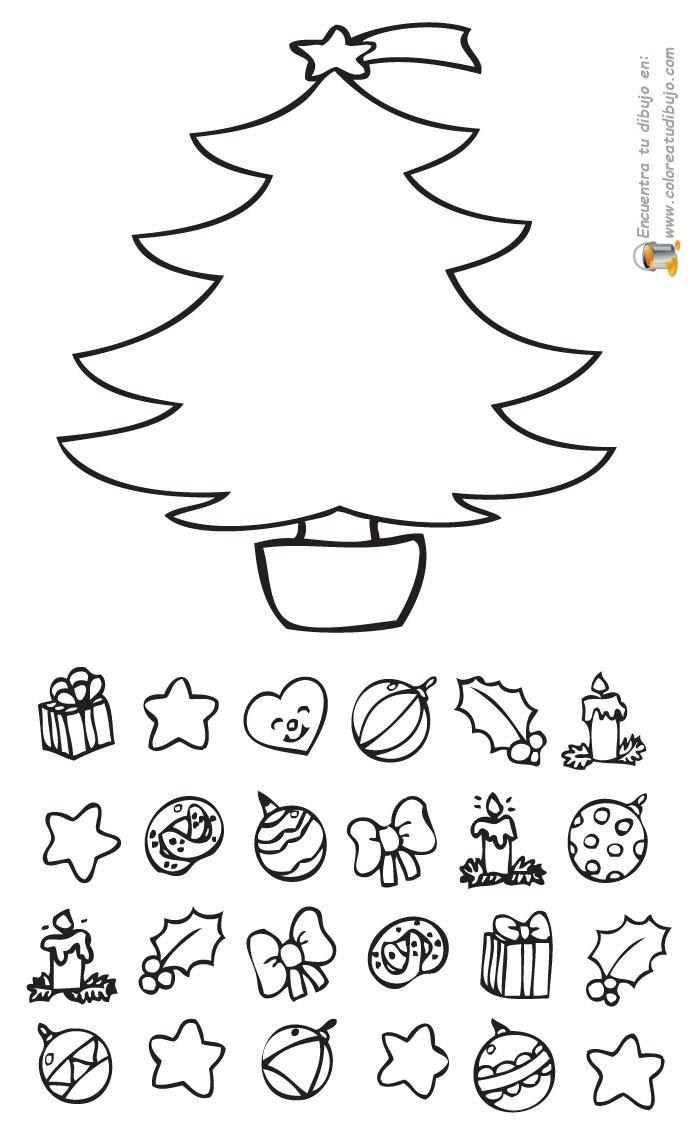 COLOREA TUS DIBUJOS: Juego de Árbol de Navidad para colorear e imprimir