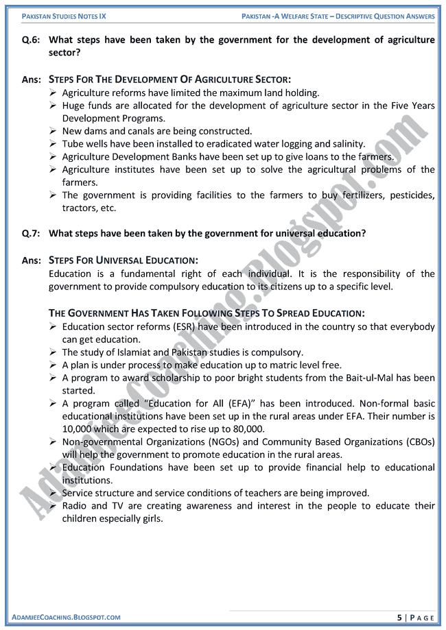 pakistan-a-welfare-state-descriptive-question-answers-pakistan-studies-ix