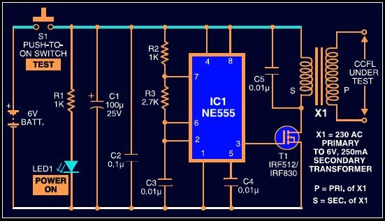 Ccfl Tester Circuit For Lcd Screens