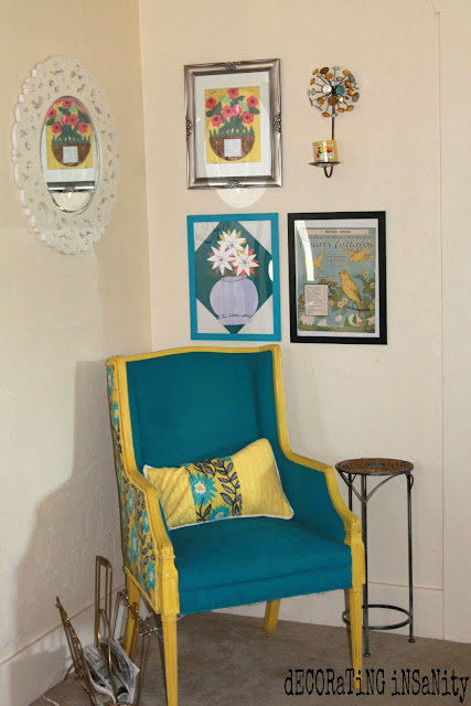 fabric and painted vintage chair