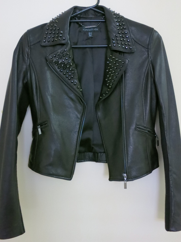 Black leather jacket with black studs