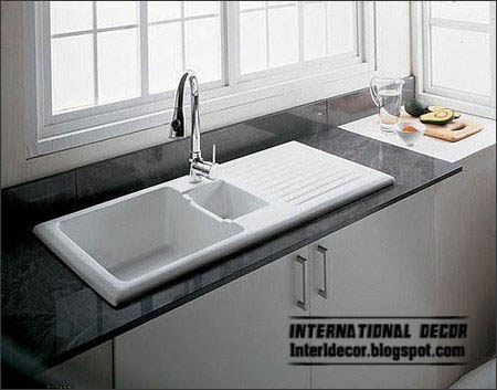 Kitchen sinks rolled edge or frame, black and white sinks