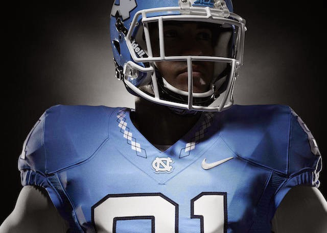 North Carolina 2015 football uniforms feature basketball team's argyle pattern.