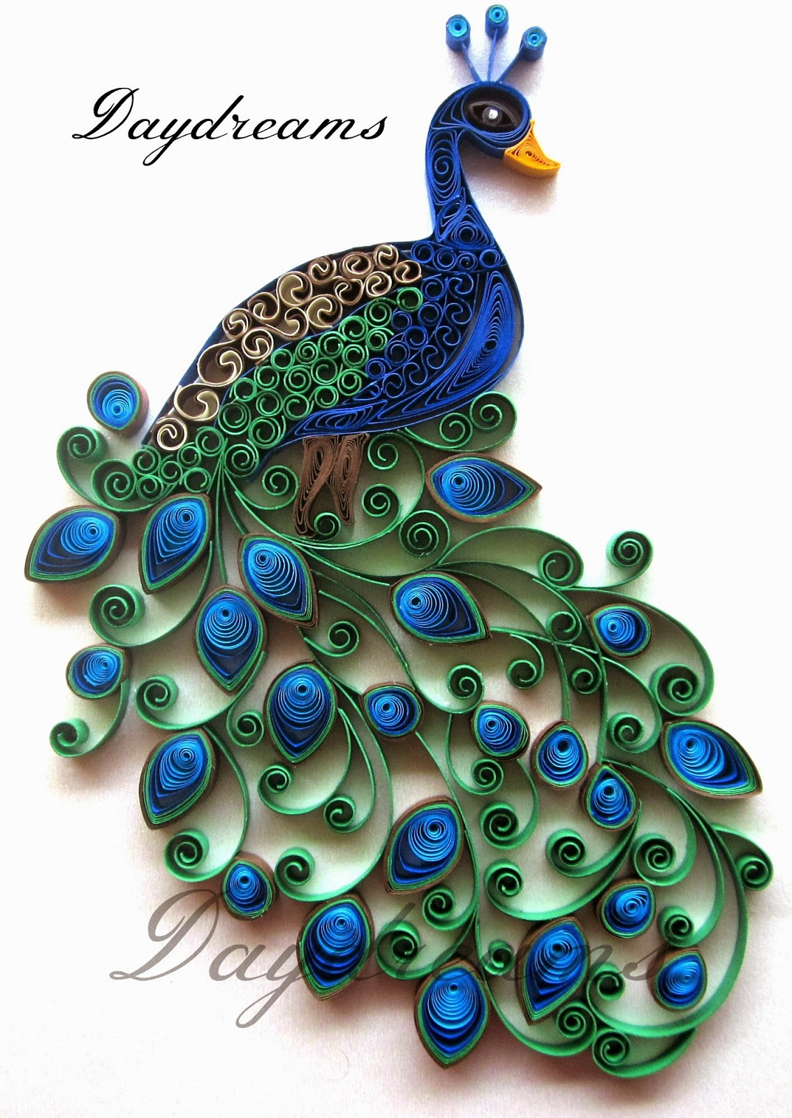Daydreams quilled peacock embroidery design inspired for Best quilling designs