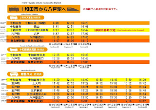 Towada to Hachinohe Station Bus Schedule 十和田市から八戸へバス時刻表
