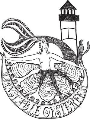 logo for Barnstable Oysterfest with lighthouse and oyster drawing