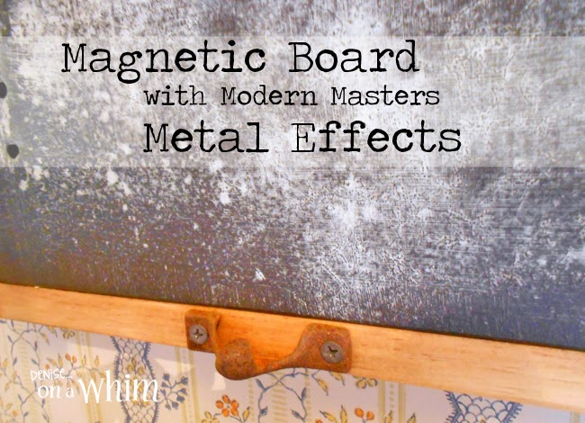 Blue Patina Magnetic Board with Modern Masters Metal Effects Paints | Denise on a Whim