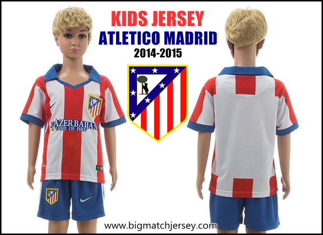 Kids Atletico Madrid 14-15 Home Soccer Jersey And Shorts